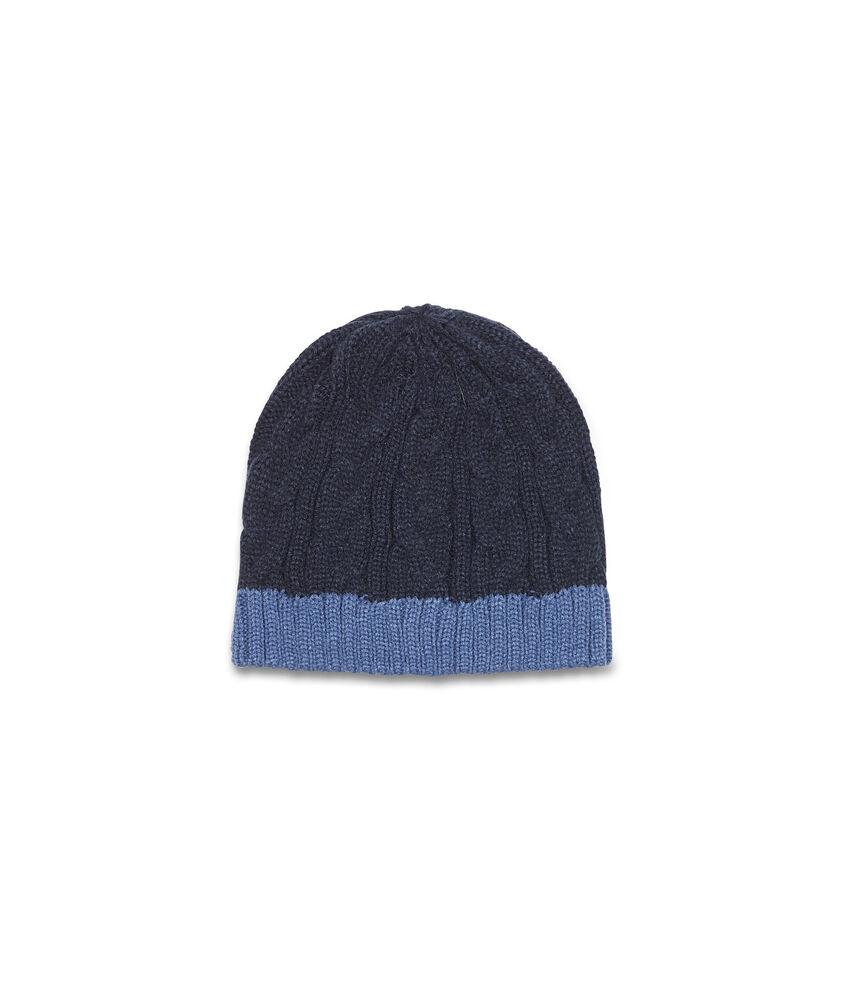 Cappello a cuffia con costina a contrasto