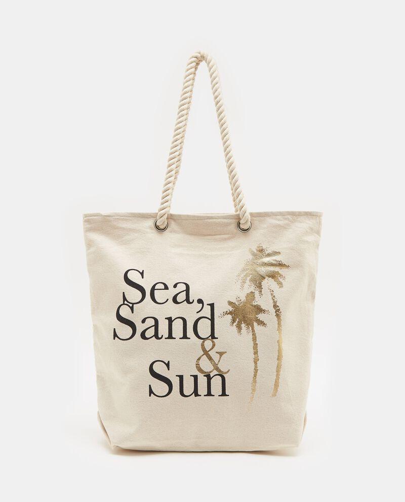 Borsa da spiaggia bianca con lettering donna