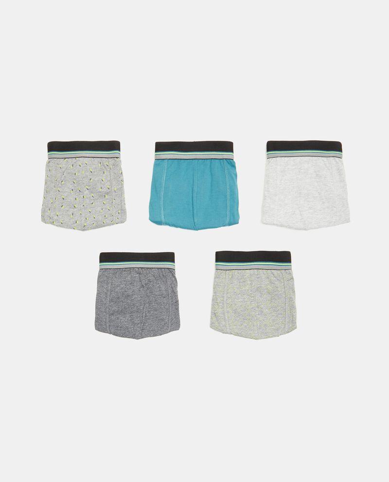 Set con 5 boxer di puro cotone uomo