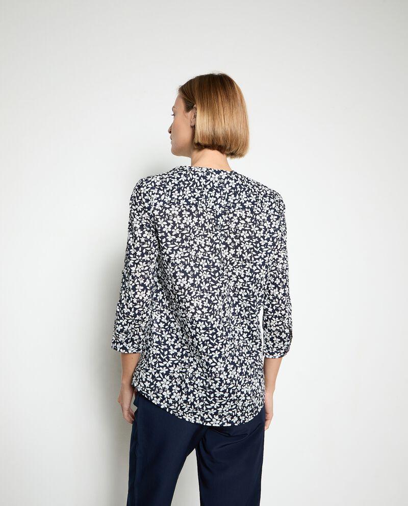 Camicia con colletto alla coreana in puro cotone donna
