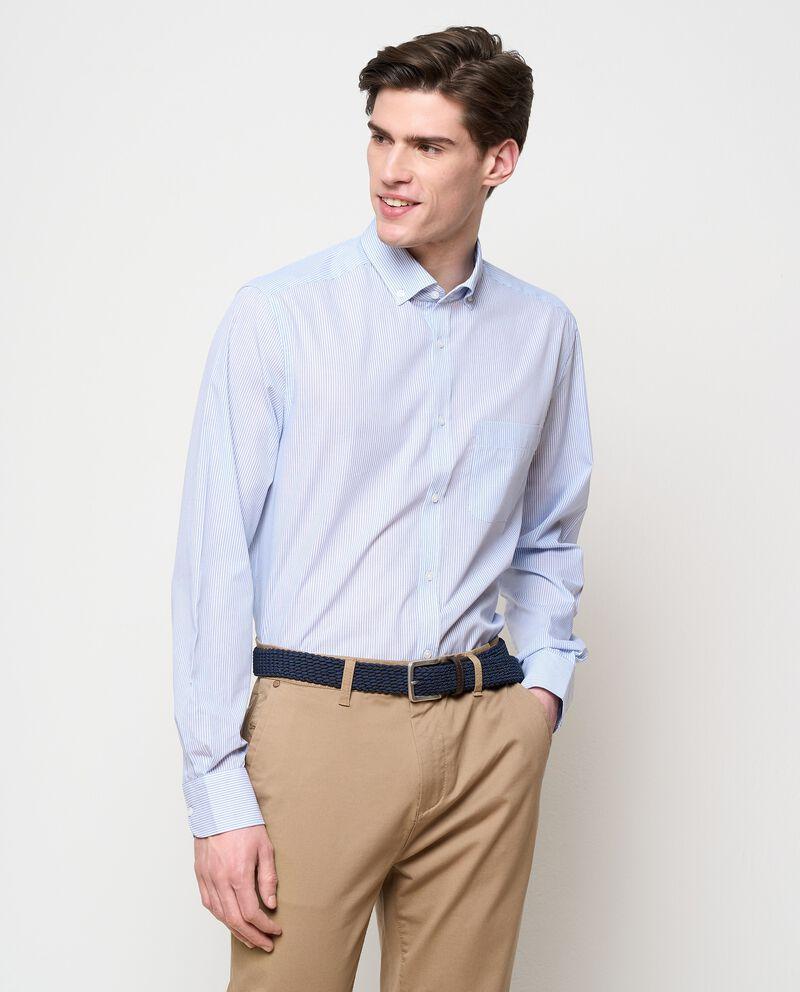 Camicia rigata in cotone uomo cover