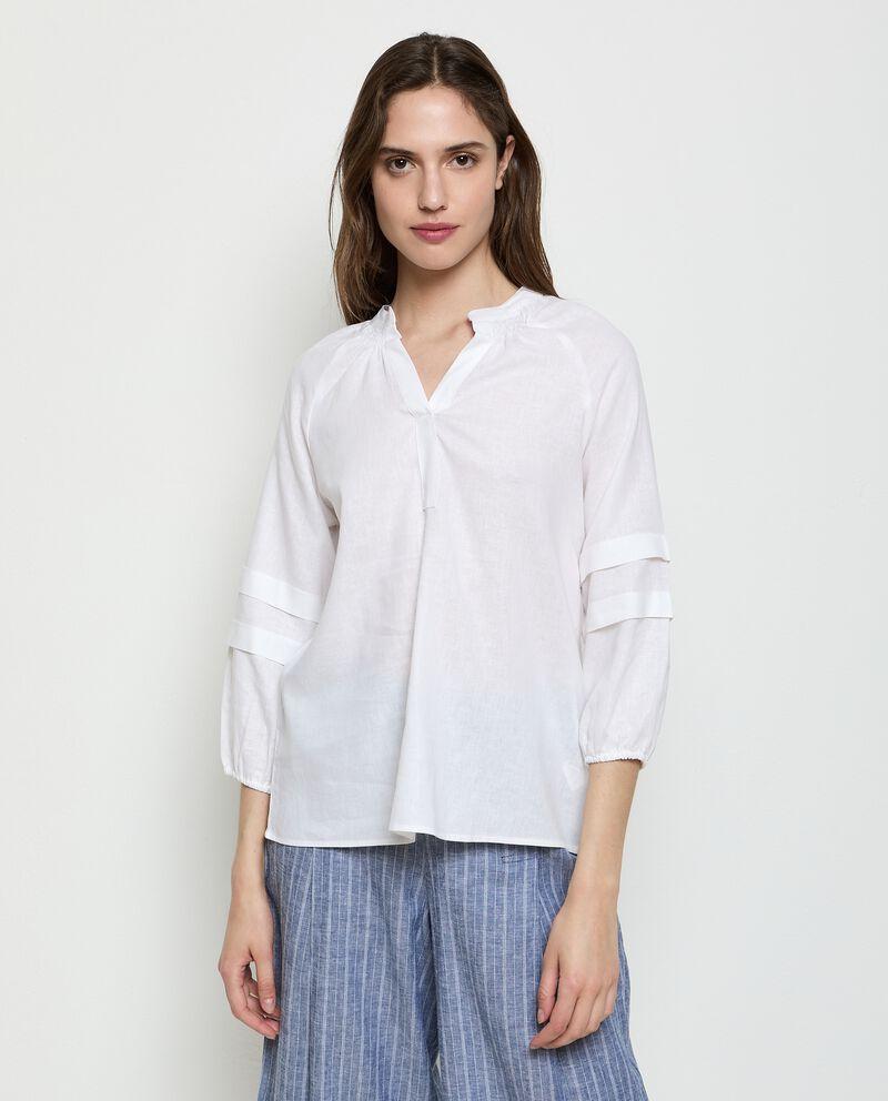 Camicia in misto lino tinta unita donna
