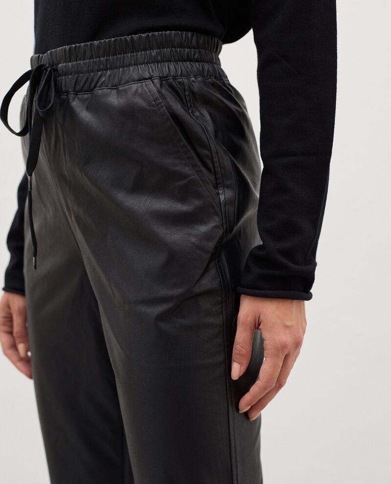 Pantaloni in eco pelle con coulisse donna single tile 2