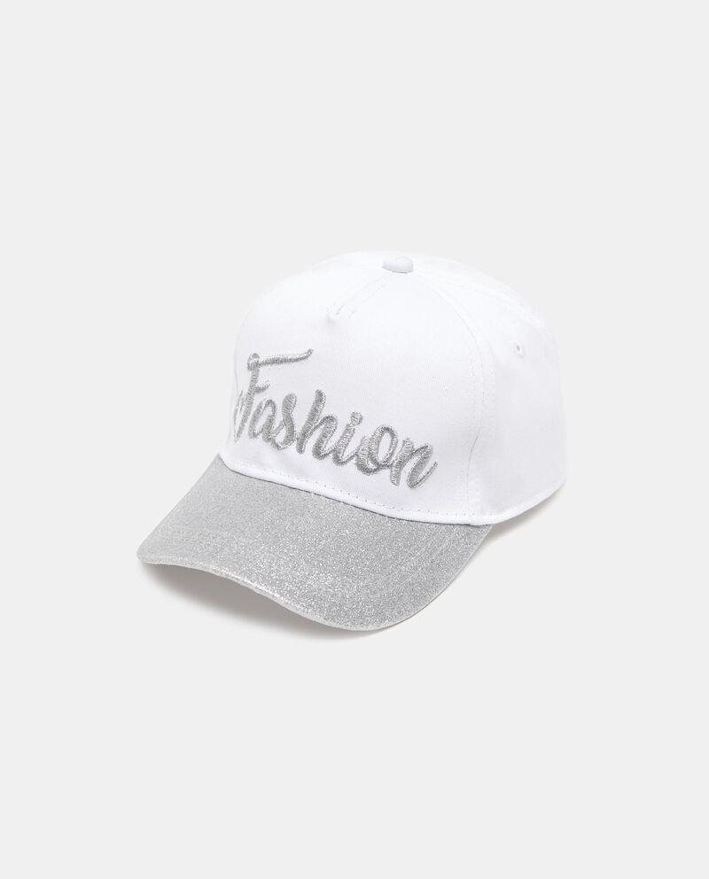 Cappellino bianco con visiera e lettering fashion
