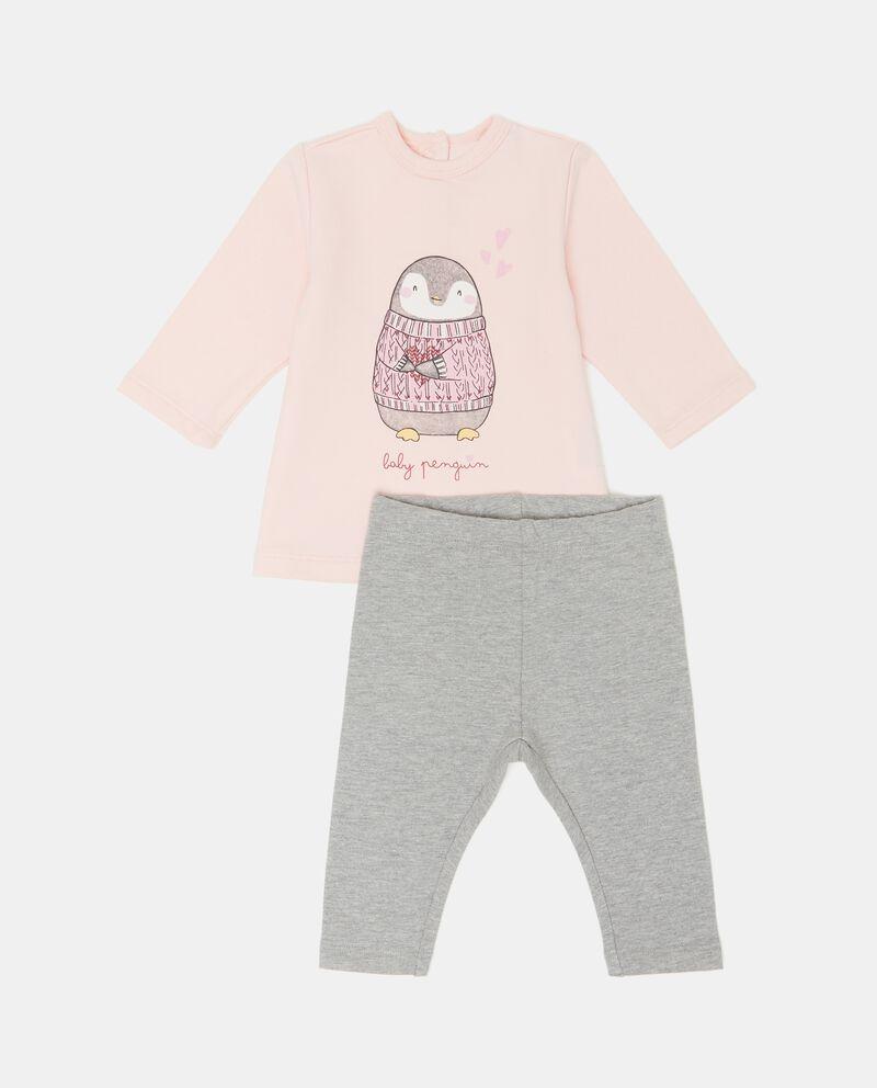 Completino maglietta e pantaloni mélange neonata