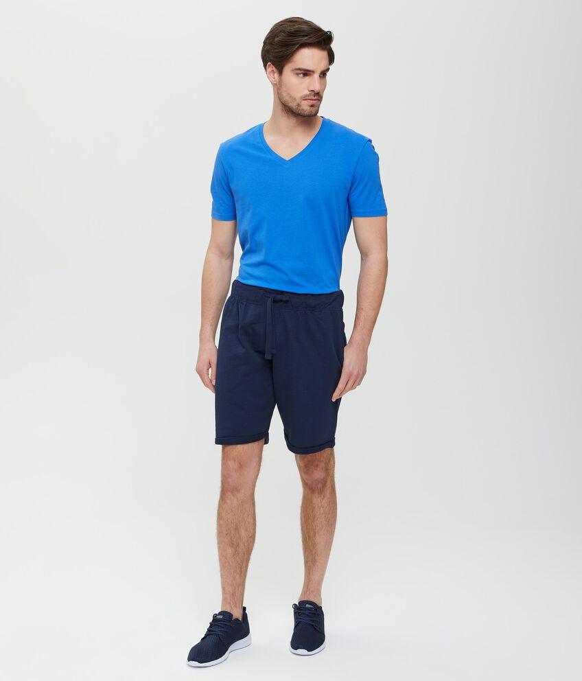 Bermuda blu bio cotton in tinta unita uomo