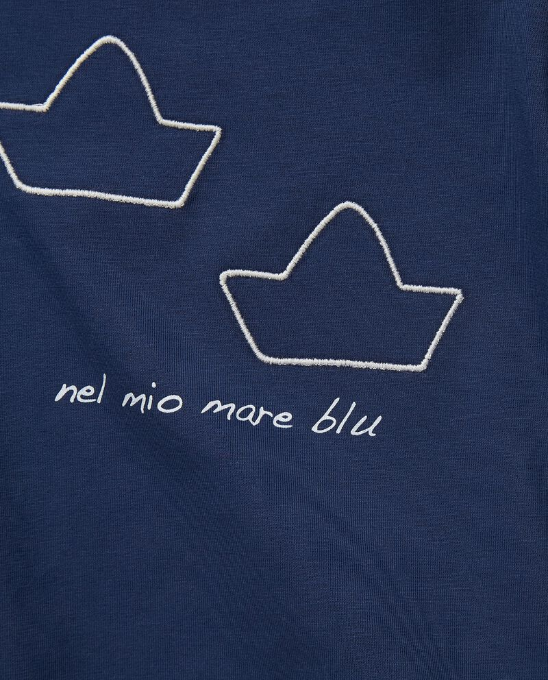 T-shirt in cotone stretch con ricami MADE IN ITALY single tile 1