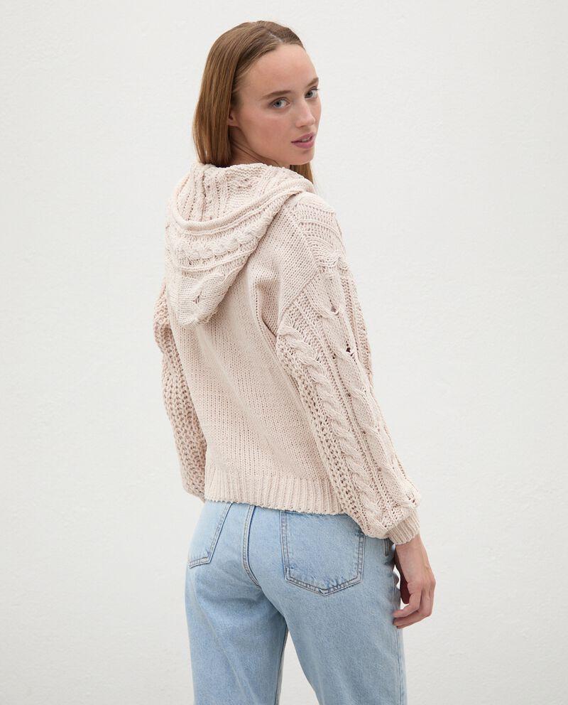 Cardigan tricot con cappuccio e zip donnadouble bordered 1