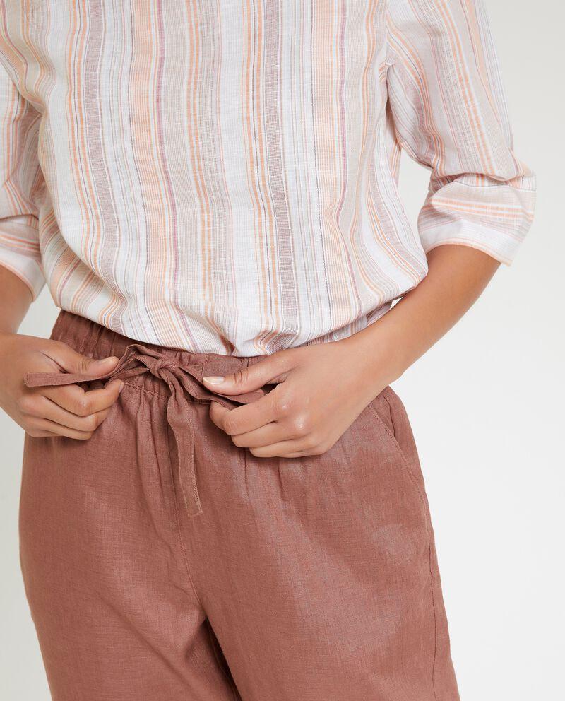 Pantaloni in puro lino tinta unita donna