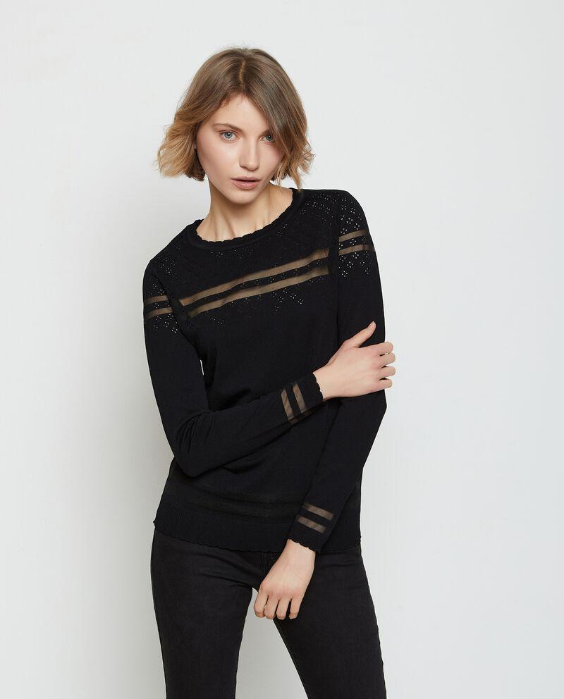 Pullover in viscosa stretch traforato donna cover