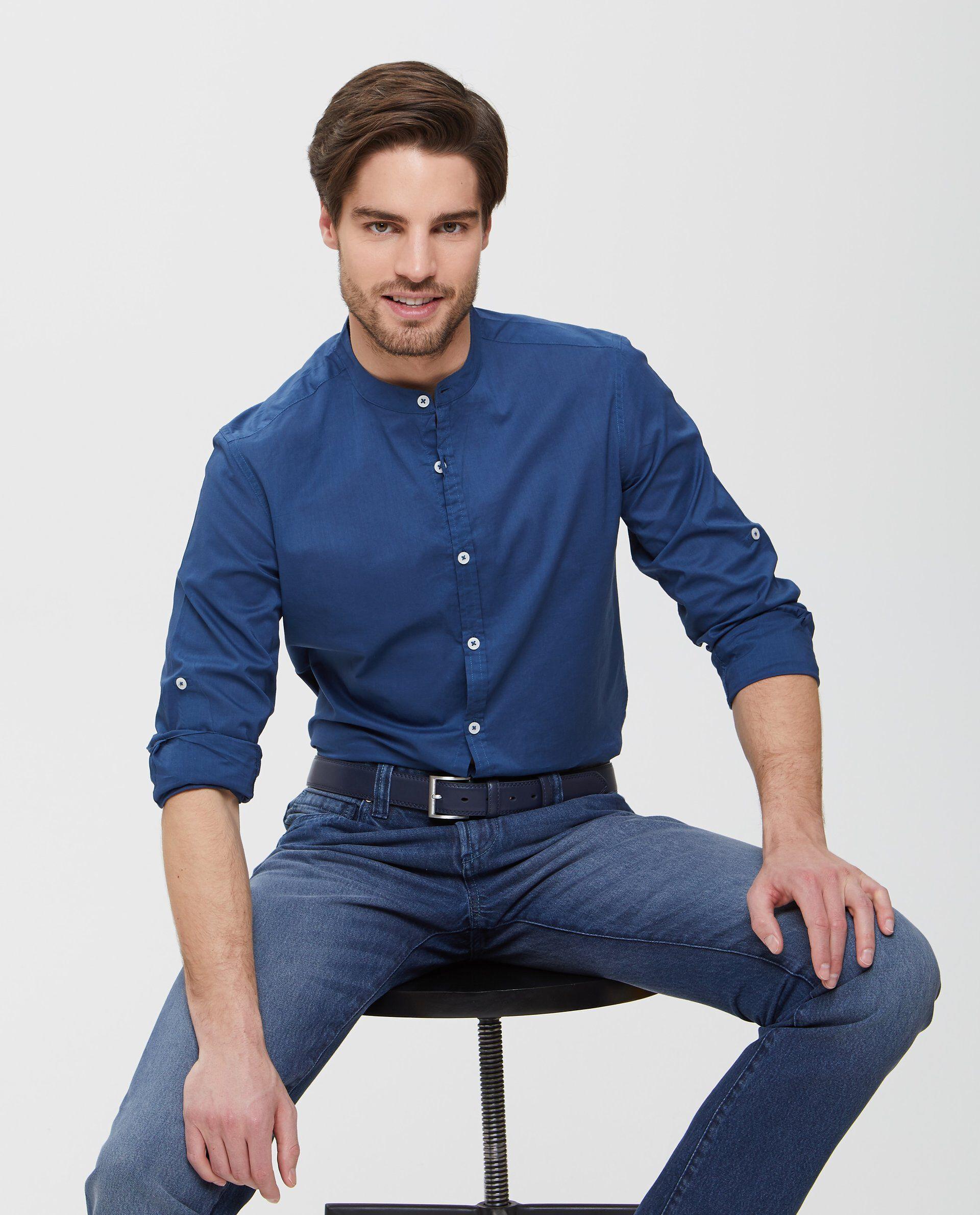 Camicia in puro cotone blu a maniche lunghe uomo