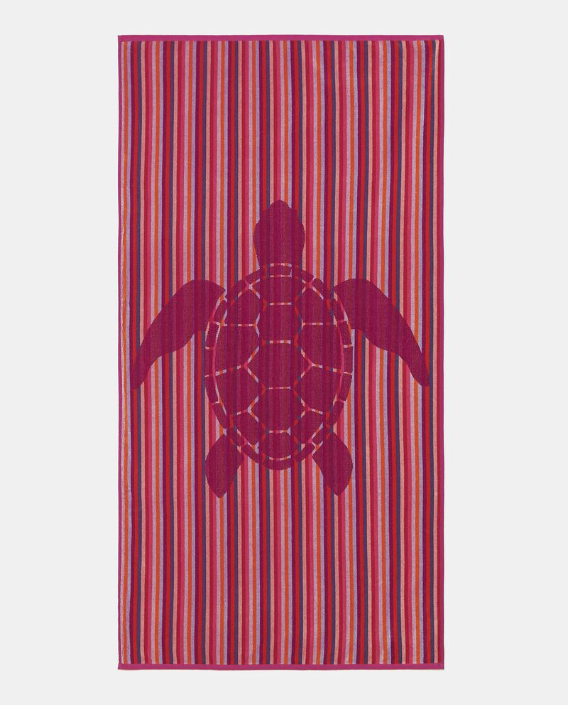 Telo mare con stampa tartaruga in puro cotone