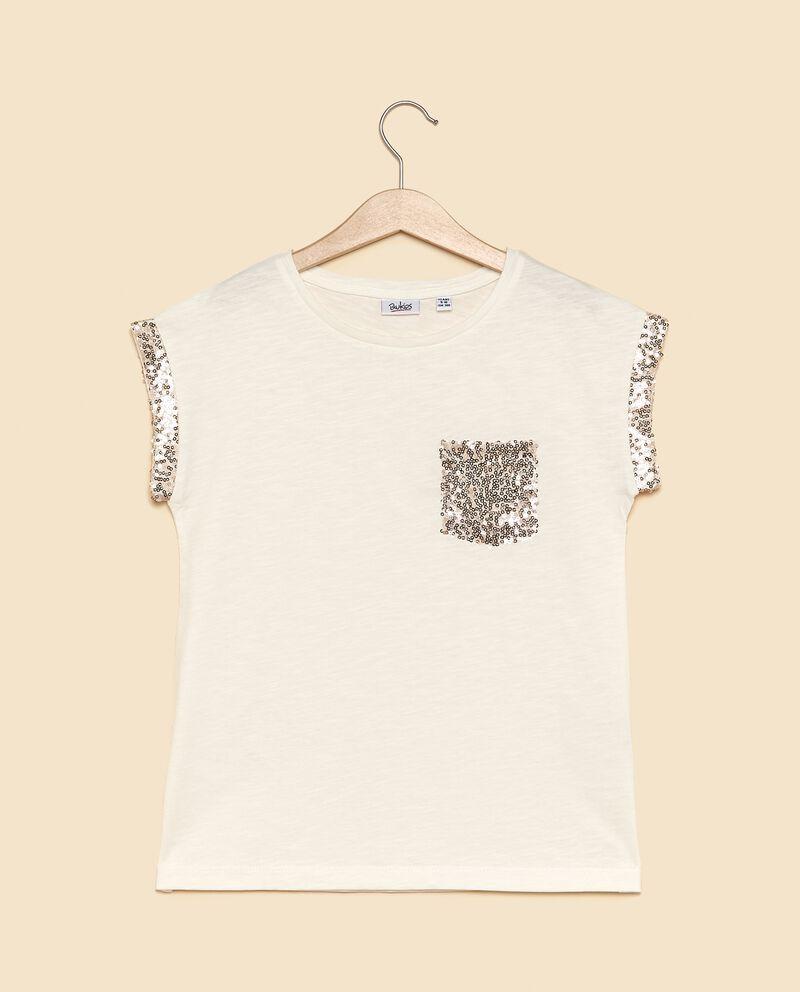 T-shirt in puro cotone con profili in paillettes ragazza