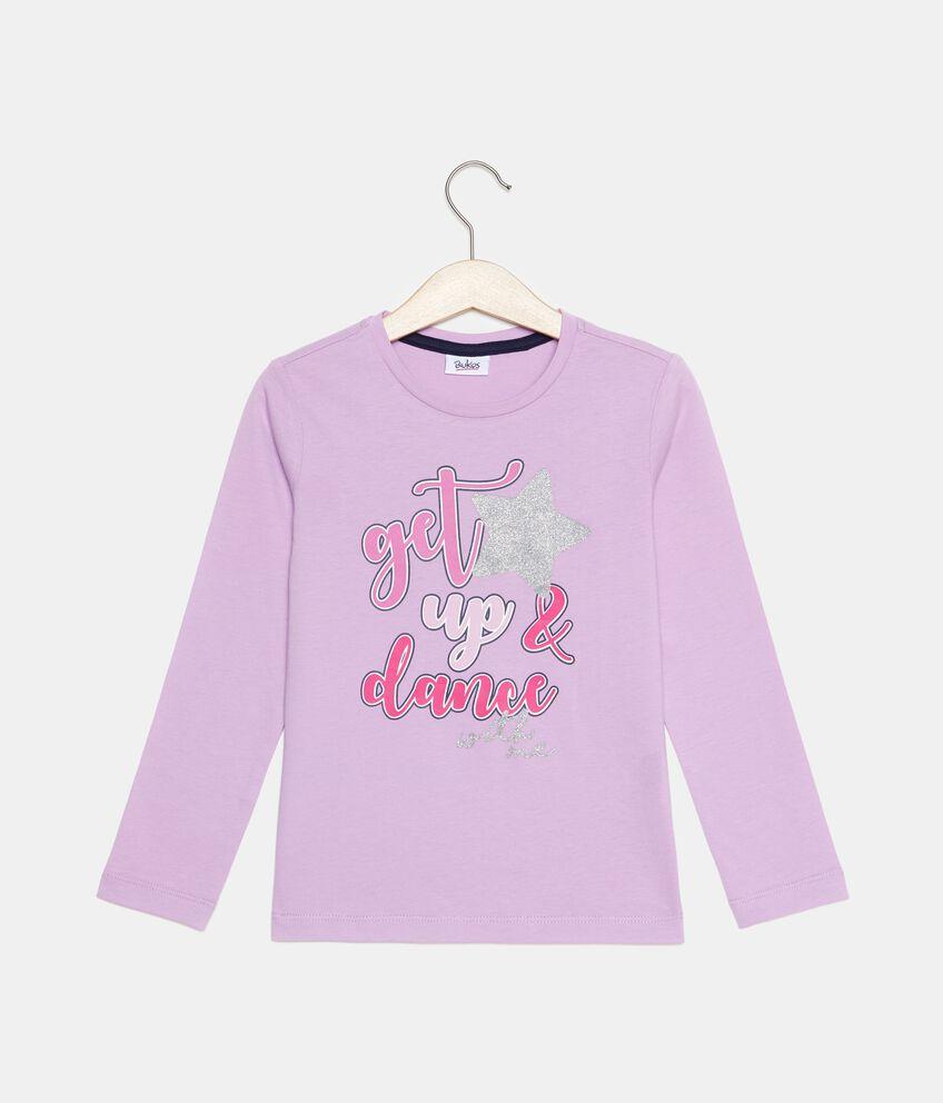 T-shirt in puro cotone con lettering glitter bambina