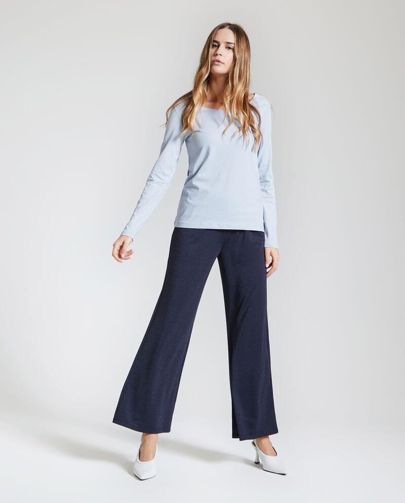 Pantaloni mélange con fondo ampio donna