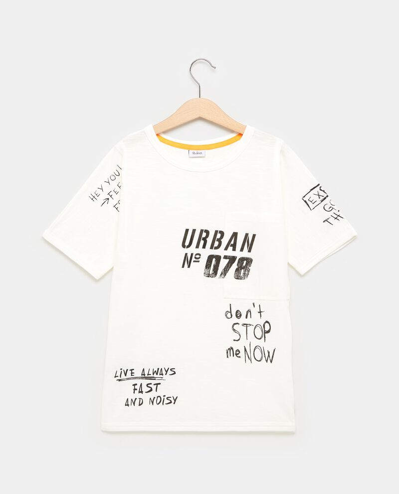 T-shirt con taschino stampa lettering