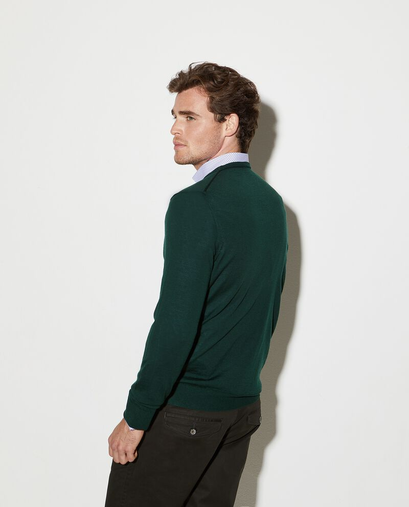 Pullover girocollo in pura lana merino uomo