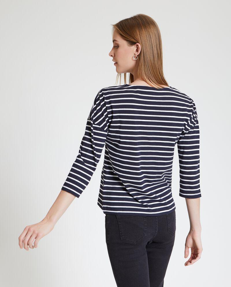 Maglietta a righe in puro cotone donna