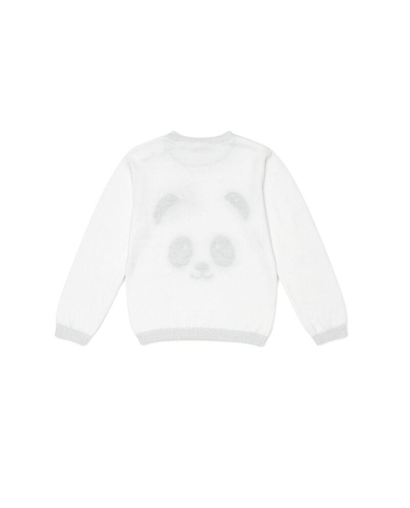 Pullover costina glitterati stampa panda