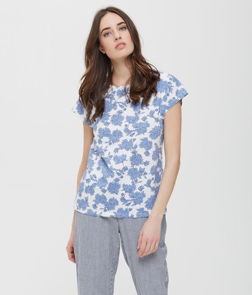 T-shirt in puro cotone bianca con fantasia floreale