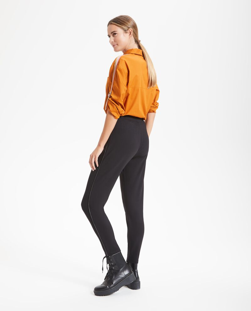 Leggings bande in ecopelle donna