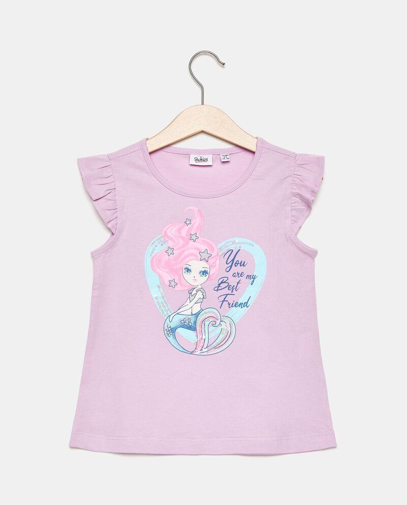 T-shirt in puro cotone con maniche corte in volant bambina