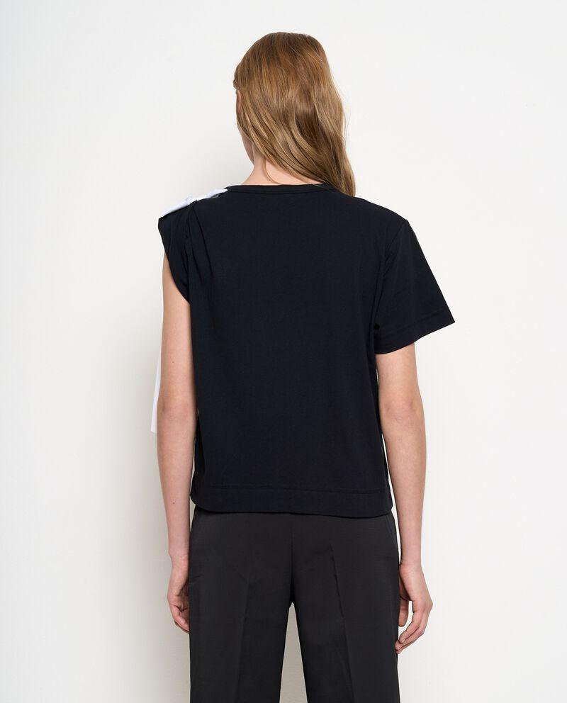 T-shirt in puro cotone con fiocco a contrasto donna single tile 1