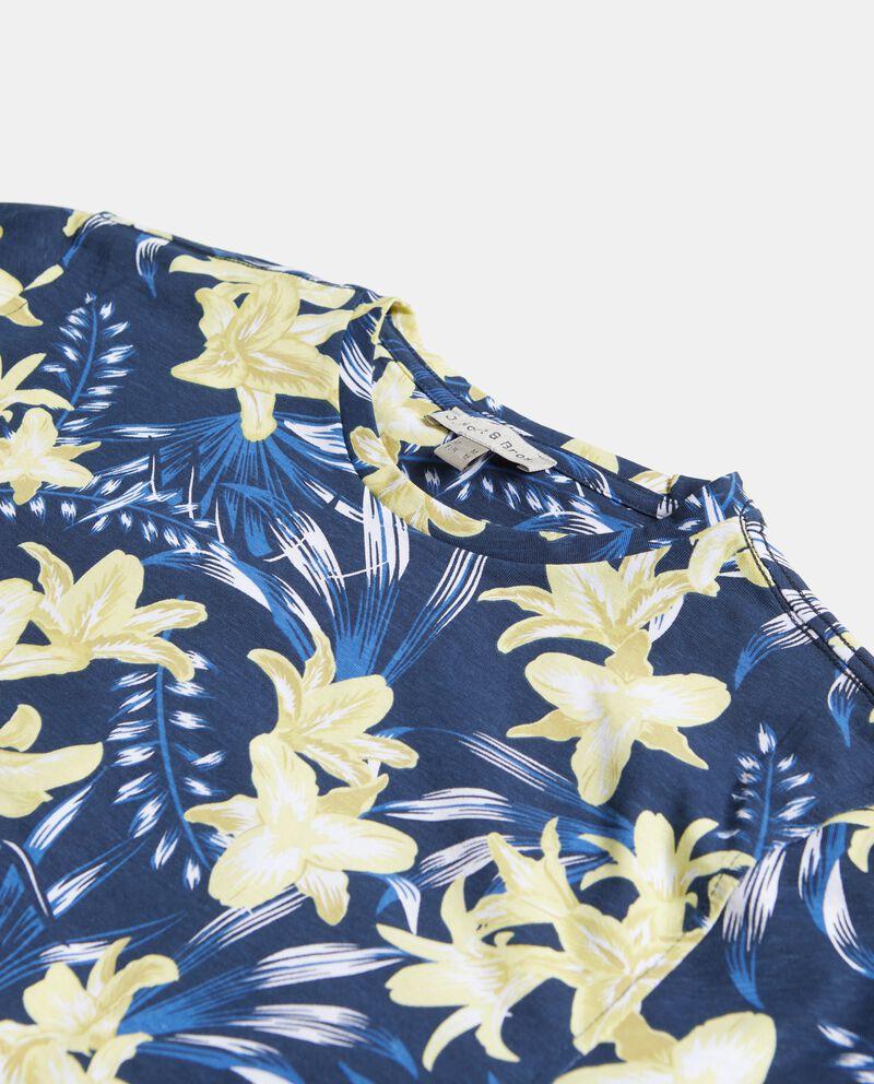 T-shirt in puro cotone con fantasia floreale uomo