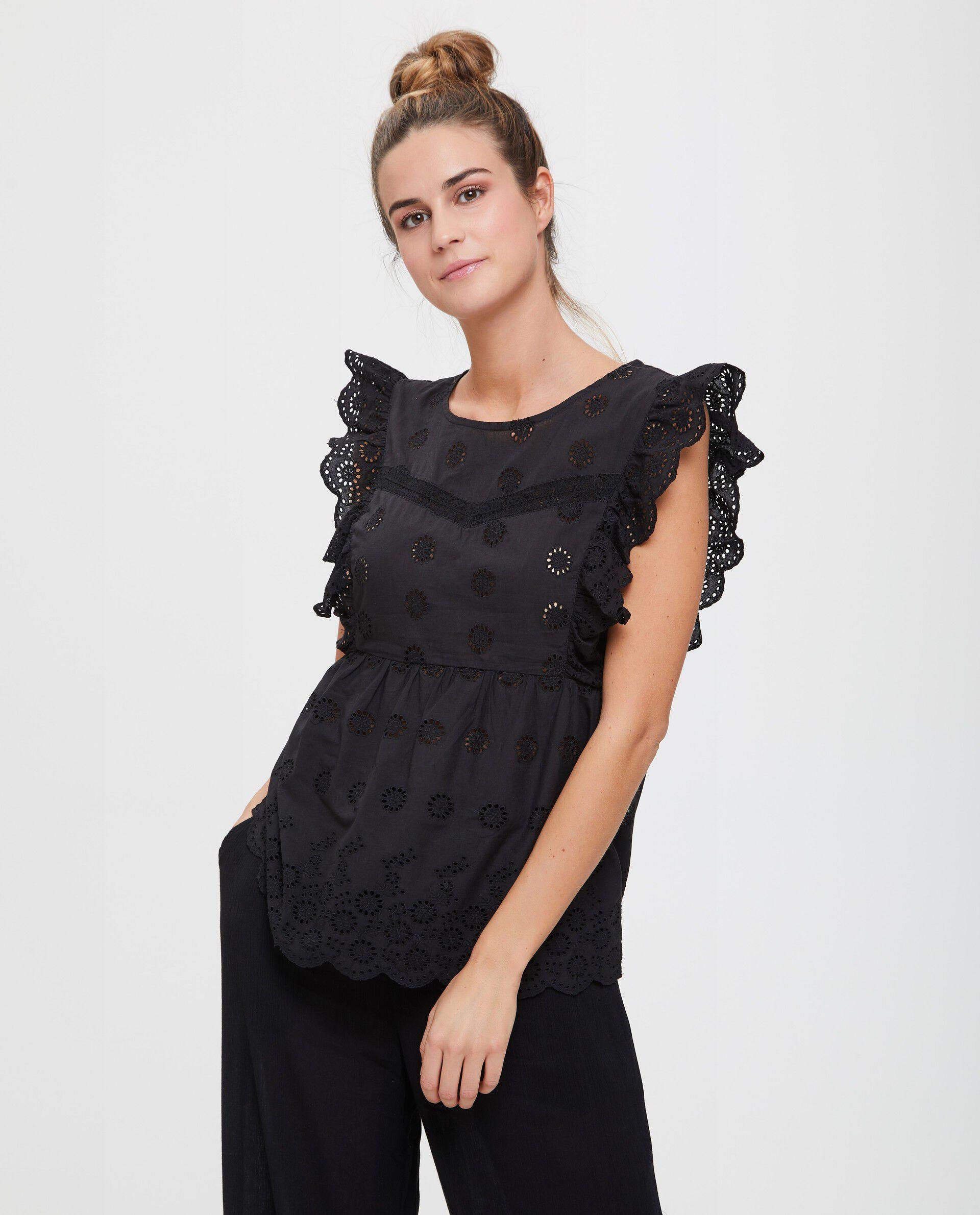 Blusa in cotone con inserti traforati