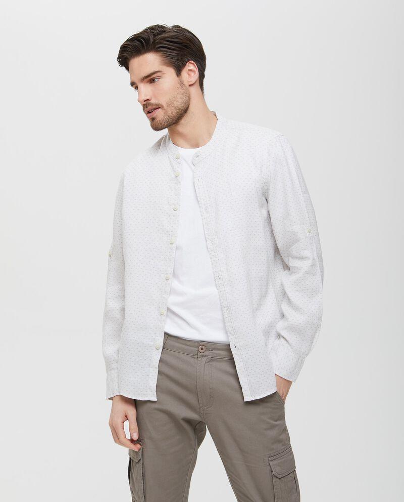 Camicia in puro lino bianca con colletto alla coreana uomo