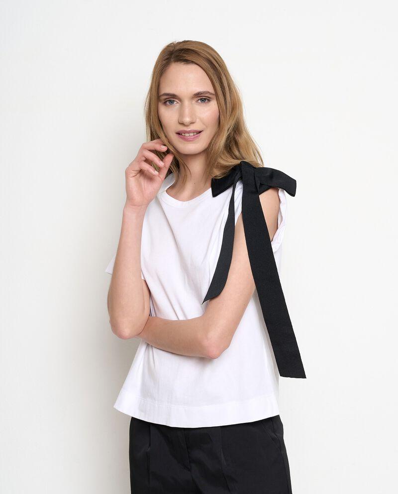 T-shirt in puro cotone con fiocco a contrasto donna cover