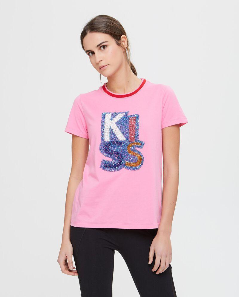 T-shirt rosa in cotone con paillettes