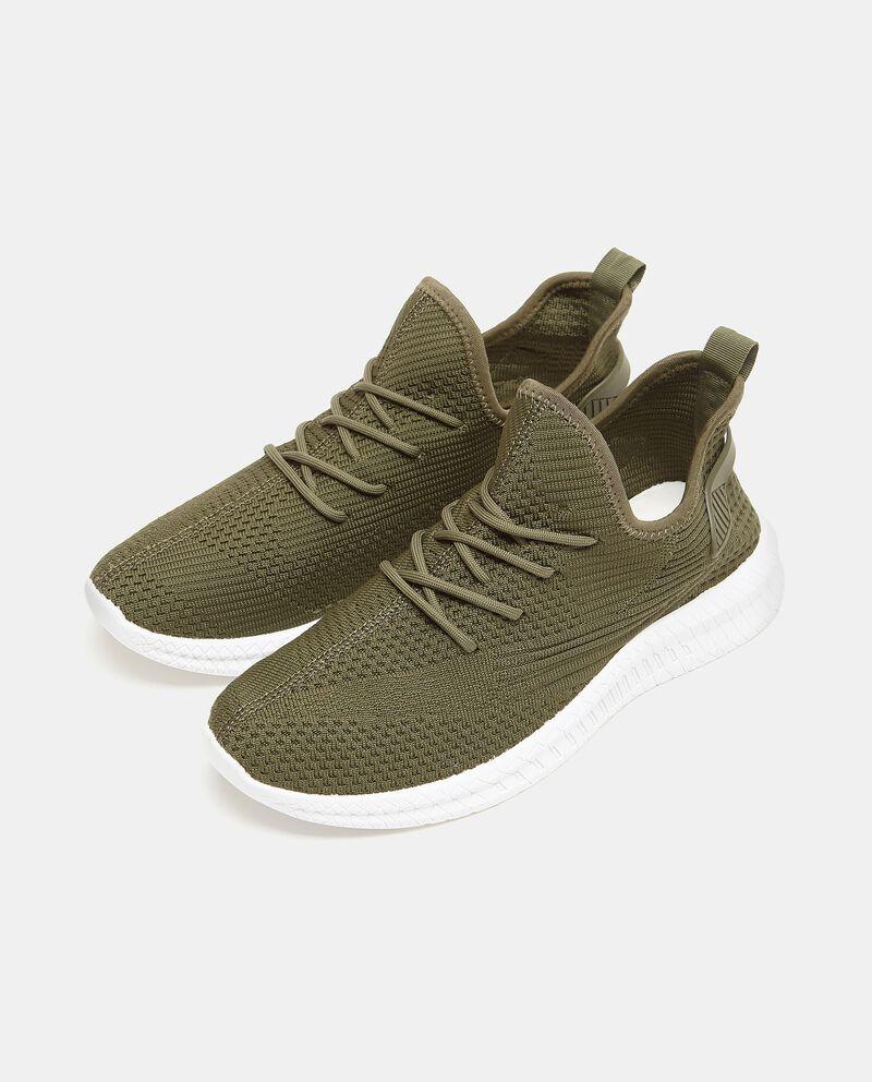 Sneakers tinta unita in maglia uomo