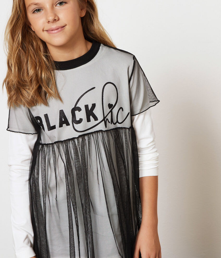 T-shirt cotone stretch con tulle
