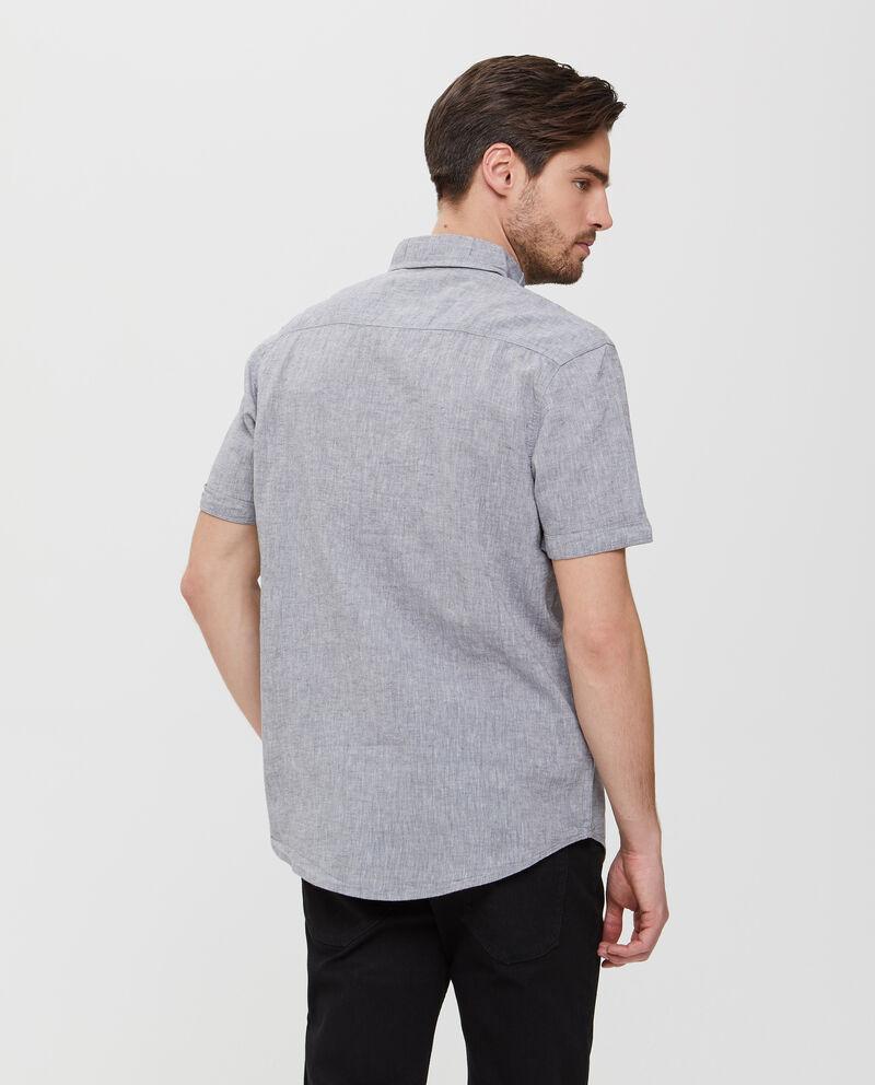 Camicia in lino e cotone grigia a maniche corte uomo