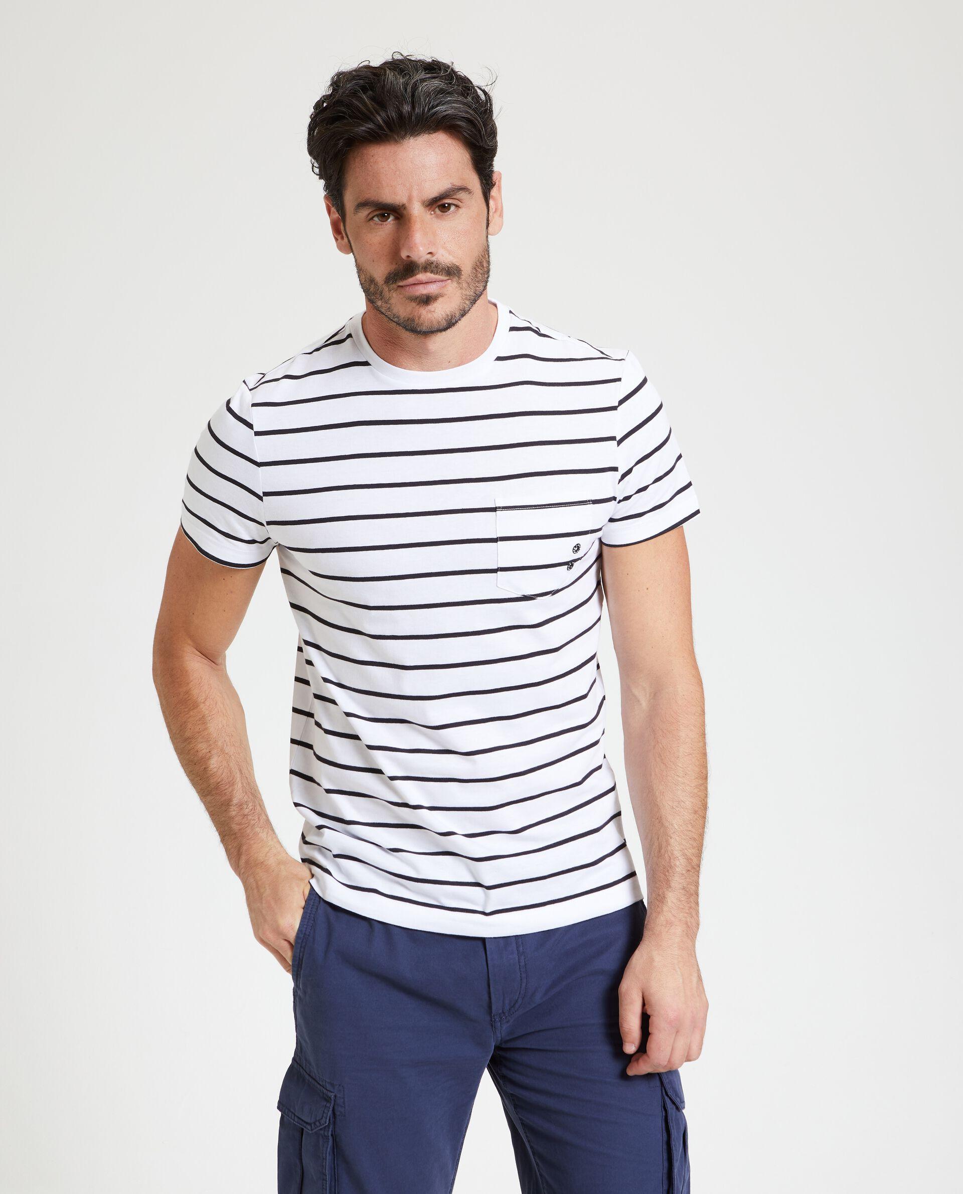 T-shirt in puro cotone a righe uomo