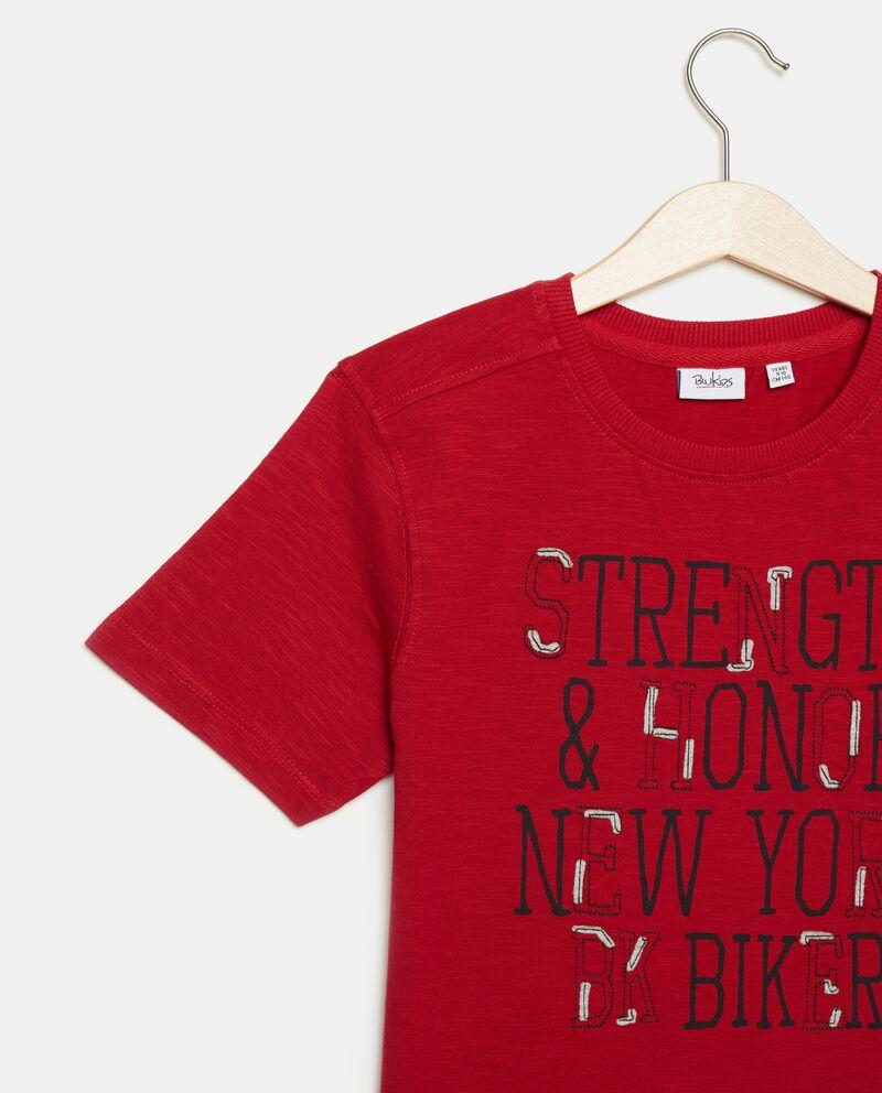 T-shirt in puro cotone con lettering ragazzo