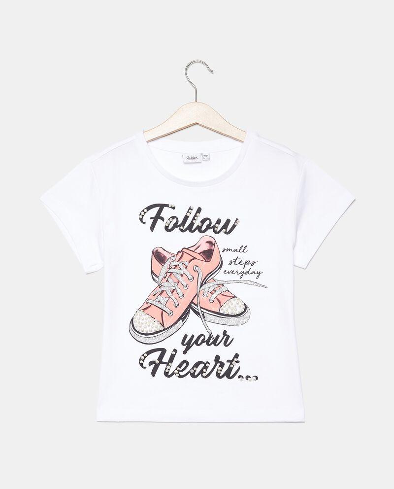 T-shirt in jersey stretch con perle ragazza