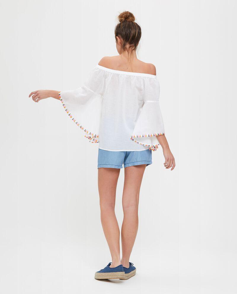 Blusa spalle scoperte in cotone e lino