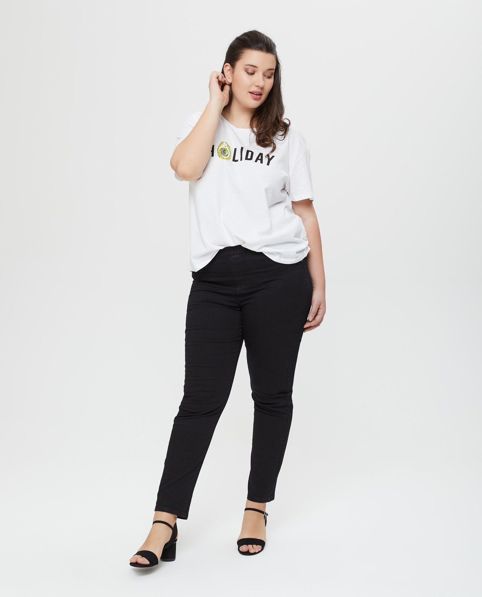 Jeans in cotone nero cinque tasche Curvy