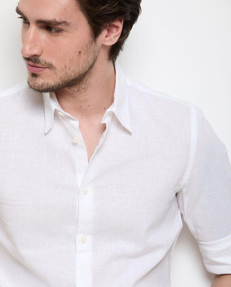 Camicia in misto lino tinta unita uomo single tile 2