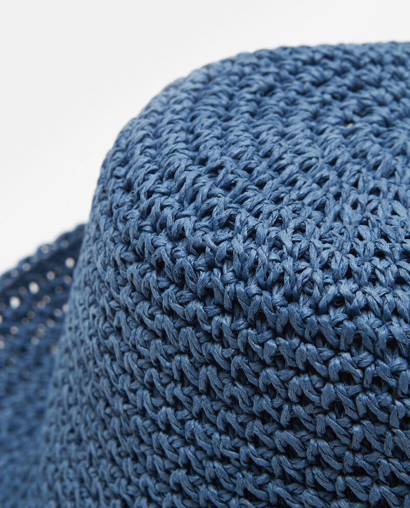 Cappello blu in paglia di carta modello alpino