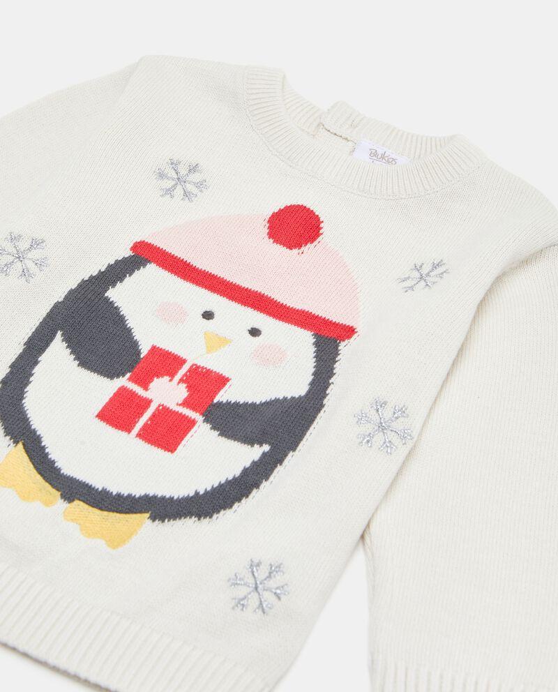 Maglioncino con pinguino e fiocchi di neve neonata