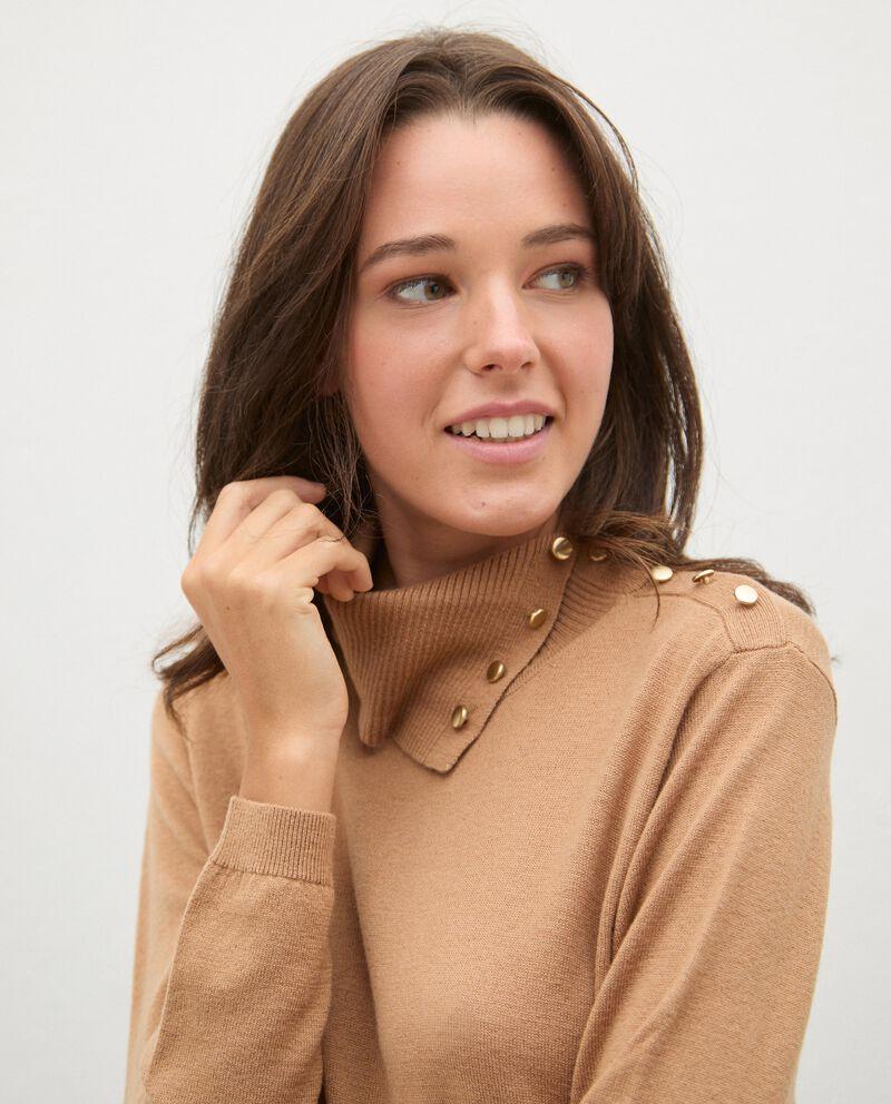 Maglia in lana collo alto con dettaglio bottoni donna single tile 2