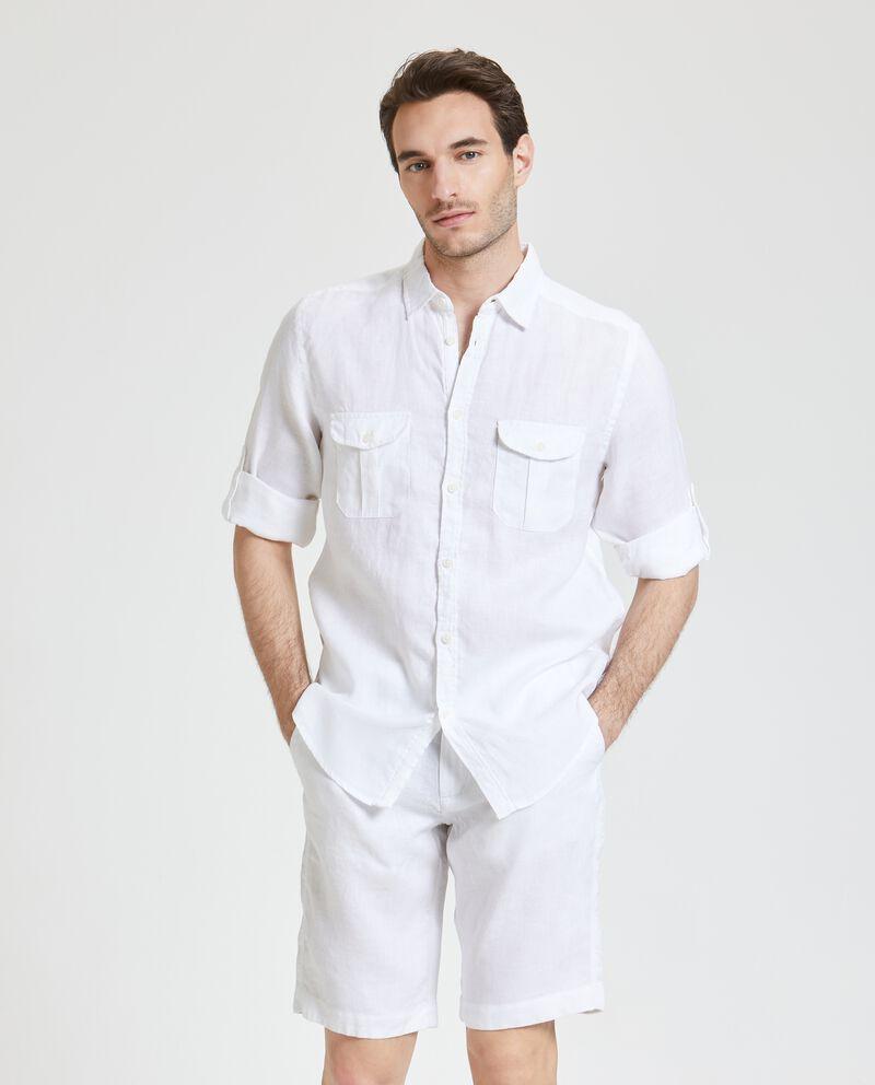 Camicia in puro lino con taschini uomo