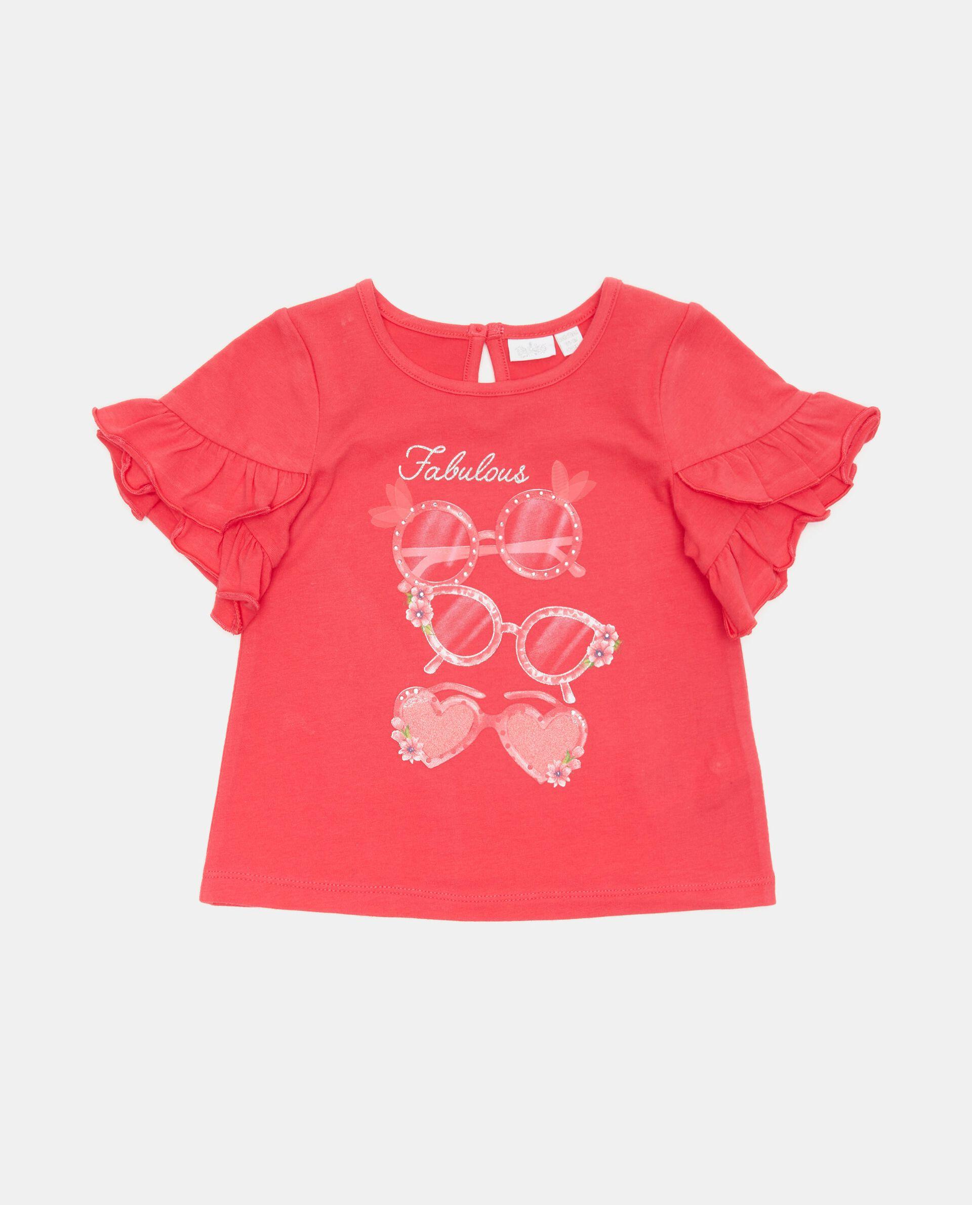 T-shirt con maniche con balze in cotone organico neonata