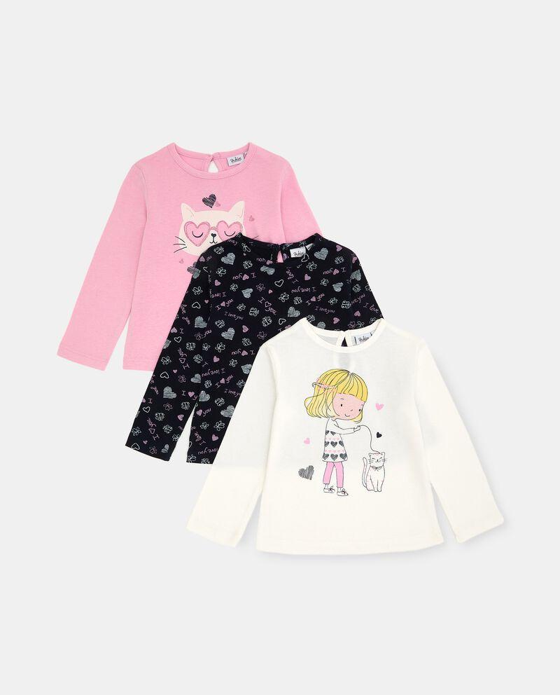 Pack con 3 t-shirt di cotone elasticizzato neonata cover