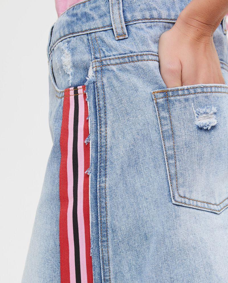 Gonna di jeans con bande rigate