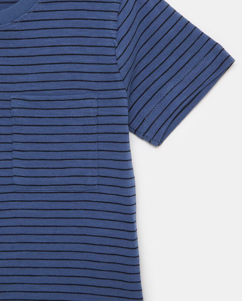 T-shirt in puro cotone con motivo a righe e taschino bambino