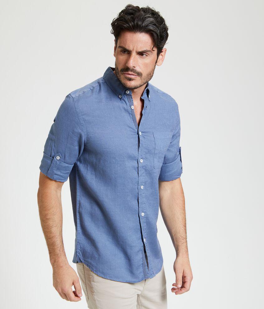 Camicia in puro lino in tinta unita uomo